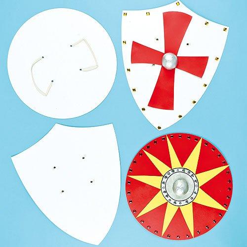 Baker Ross Blanko Pappformen Ritterschilde für Kinder zum Bemalen und Dekorieren (4 Stück)