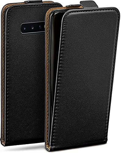 moex Flip Hülle für Samsung Galaxy S10 Plus Hülle klappbar, 360 Grad R&um Komplett-Schutz, Klapphülle aus Vegan Leder, Handytasche mit vertikaler Klappe, magnetisch - Schwarz