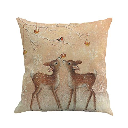 Sauahy Christmas Printing Dyeing Sofa Bed Home Decors Pillow Cover Cushion Cover Festive Adorable Ornaments