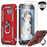 Samsung Galaxy S7 Case with Tempered Glass Screen Protector [2 Pack], LeYi [Military Grade] Defender Protective Phone Cover Case with Magnetic Car Mount Holder Kickstand for Samsung S7, JSFS Red