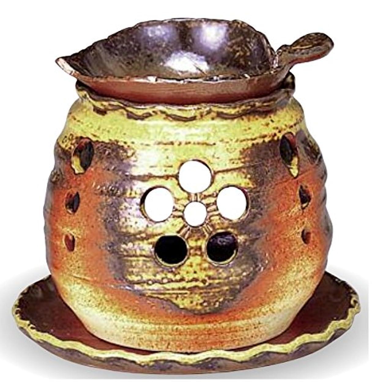振動する繁栄部分的に常滑焼 茶香炉(アロマポット)木ノ葉皿 径10×高さ10.5cm