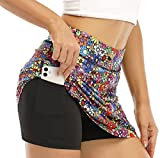 Yopchill Flower Skorts Skirts for Women, Teen Girls Tennis Golf Cute Colorful Floral Printed Mini Dress with Pockets Workout Athletic Double Layer High Waisted Soft Beauty Flower M