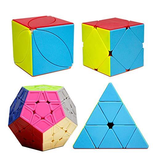 OJIN Cube Bundle Megaminx & Skewb & Lvy Cube & Pyramid Bright Stickerless Set with Gift Packing (Sin Etiqueta)