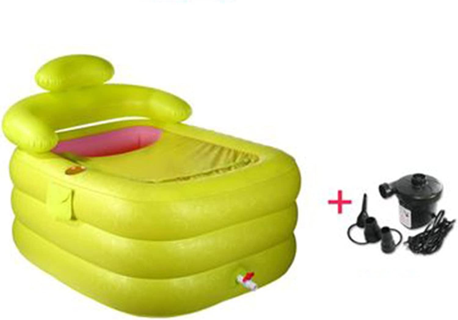 LIUXIN Family Inflatable Thicker Green Pink Plastic 110  85  75cm Inflatable bathtub (color    2)