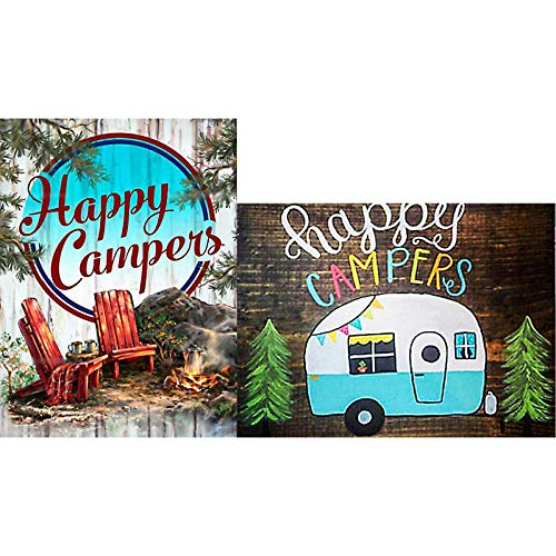 2 Pieces 5D Diamond Painting Kits for Adults, Diamond Art Kit Happy Camping Paint with Diamonds Rhinestone Full Round Drill Canvas Picture for Home Decor, 11.8 x 15.75 Inches