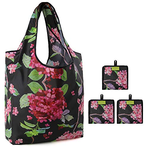 Black Grocery Bags with Red Hydrangea Print Large Capacity 50 LB Shopping Tote Folding Convenient...