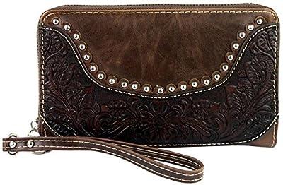 Montana West Ladies Wristlet Wallet 2-in-1 Western Tooled Genuine Leather Zippered Enclosure Coffee