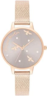 Olivia Burton Women's Silver & Fake Pearl & Bee Dial Ionic Rose Gold Plated Steel Watch - OB16PQ04