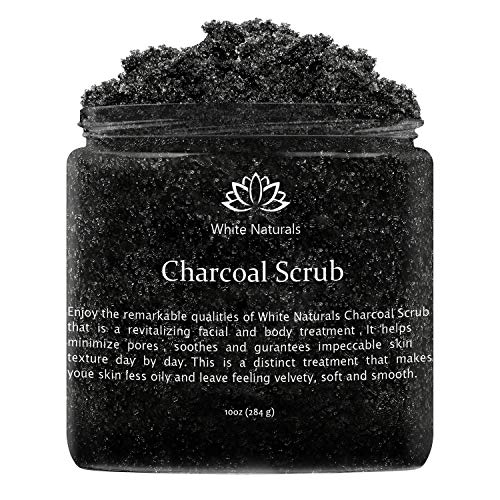 Holidays Sale! Activated Charcoal Scrub By White Naturals:Face & Body scrub, Reduces Wrinkles,Blackheads & Acne Scars,Natural Skin Care, Organic Pure Vegan Scrub Wash For Skin Exfoliation& Detox