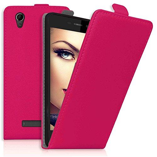 mtb more energy® Flip-Case Tasche für ZTE Blade A452 (5.0'') - Hot Pink - Kunstleder - Schutz-Tasche Cover Hülle