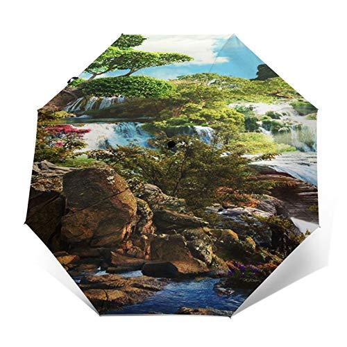 Paraguas Plegable Automático Impermeable Cascada Paisaje Marino Castillo Flor, Paraguas De Viaje Compacto A Prueba De Viento, Folding Umbrella, Dosel Reforzado, Mango Ergonómico
