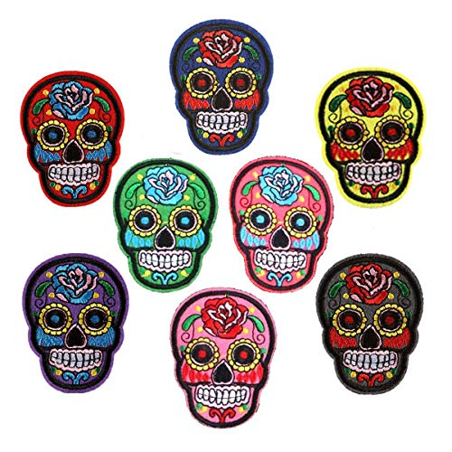 Juego de 8 parches coloridos para ropa de cráneo, diseño de calavera mexicana con calavera bordada para...