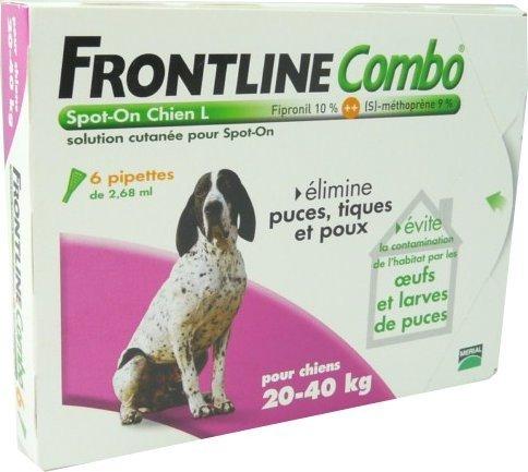 FRONTLINE® - Combo L Chien de 20-40 kg anti-puces et tiques - 6 pipettes