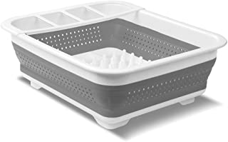 madesmart EMW6337273 Collapsible Dish Rack Grey/White