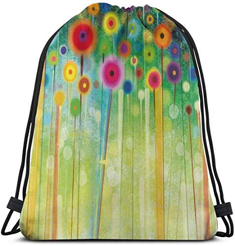 March flowers Abstract Dandelion Inspired Spiral Blooms Petals Nature Art Theme 3D Print Drawstring Backpack Rucksack Shoulder Bags Gym Bag for Adult 16.9\