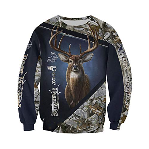 3D Deer Hunter Printed Jacket Men/Women Harajuku Hoodie Casual Streetwear Sweatshirt Pullover Sweatshirts Asian Size XXXL