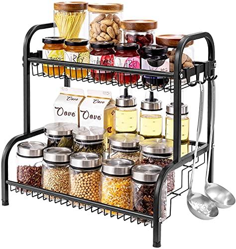 COVAODQ Estantería para especias con 4 niveles y 8 ganchos para cocina, de metal, con patas antideslizantes, fácil de montar, para encimera, despensa, baño, cocina, color negro