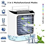 Portable Evaporative Air Cooler, Mini USB Air Conditioner, 4 in 1 Small Personal Space Air Conditioner Cooler and Humidifier, Air Cooler Desk Fan Cooling with Portable Handle for Home Office Outdoors