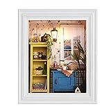 Type de cadre photo Mini modèle de maison de poupée en bois à bricolage Warm House Kit avec mobilier miniature et lampe pour la décoration de la maison, Cadeaux Idéal pour Enfants Amis