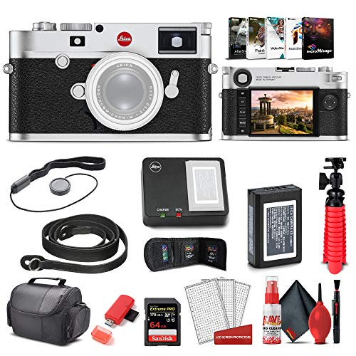 Leica M10 - R Digital Rangefinder Camera (Silver Chrome) (20003) + 64GB Extreme Pro Card + Corel Photo Software + Card Reader + Case + Cleaning Set + Flex Tripod + Cap Keeper - Starter Bundle
