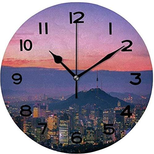 XXSCXXSC Reloj de Pared silencioso, fácil de Leer, Redondo, Reloj de Pared, Cielo crepuscular en la Ciudad de Seúl, Corea