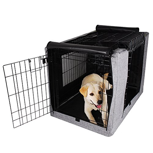 Petsfit Durable Double Door Dog Crate Cover with Mesh Window