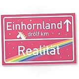 Einhorn Kunstoff Schild - rosa Ortsschild Einhorn