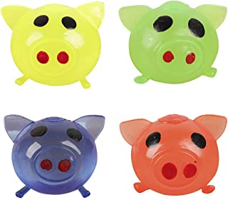 Anti-Stress Jello Pig Cute Toys, Splat Water Pig Ball Vent Toy Squishy Soft Venting Sticky Pig Squeezing Toys Stress Reliever Decompression Toy Gifts for Kids Adults Party (Green/Blue/Yellow/Red)