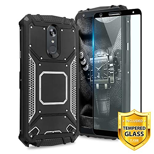 TJS Phone Case LG Stylo 4/LG Stylo 4 Plus/LG Q Stylus/LG Q Stylus Plus/LG Q Stylus Alpha, with [Full Coverage Tempered Glass Screen Protector] Aluminum Magnetic Support Metal Plate Back (Black)