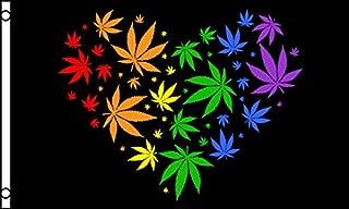 onebasispoint Brand Rainbow Marijuana Love Flag 3x5 Feet 100 Denier Quality Polyester (not Cheap Lightweight Material Like Other Brands) Gay Pride LBGT