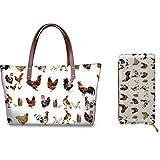 Belidome Animal Rooster Chicken Design Women Handbag Set with Long Purse