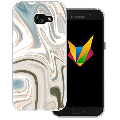 MOBILEFOX Liquid durchsichtige Silikon TPU Schutzhülle 0,7mm dünne Handy Soft Hülle für Samsung Galaxy A5 (2017) Liquid Braun Gold - Verlauf Hülle Cover
