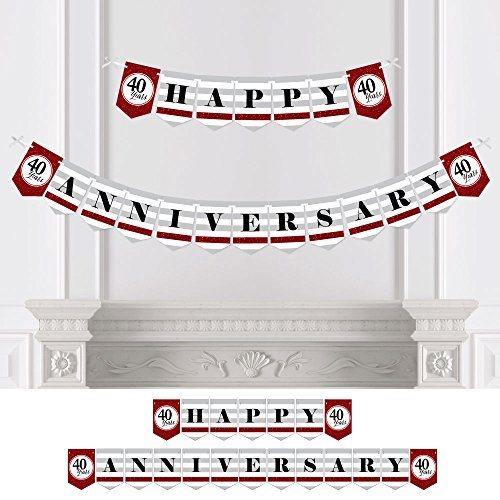 Big Dot of Happiness We Still Do - 40th Wedding Anniversary Party Bunting Banner - Ruby Party Decorations - Happy Anniversary