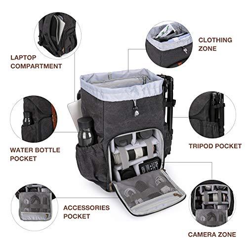BAGSMART Camera Backpack, Anti-Theft DSLR SLR Camera Bag Water Resistant Canvas...