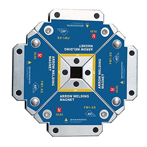 Escuadra magnética para soldador 13KG ,VVEMERK 4 PCS electrodos soldadura para posicionamiento de flecha cuadrado magnético fuerte 45°, 90°, 135° ángulo de localización auxiliar 45*50*10mm