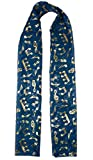 Mytoptrendz® Treble Clef Music Note Print Chiffon Scarf (Teal Blue with gold notes)