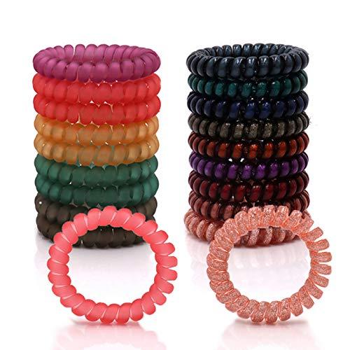 Spiral Hair Ties, Elastics Hair Ties Ponytail Holders (Diameter 2.16 Inch), Phone Cord Hair Ties No Crease, Colorful, Multi-color Hair Coils Ties for Women Girl Teen (18 Pcs)