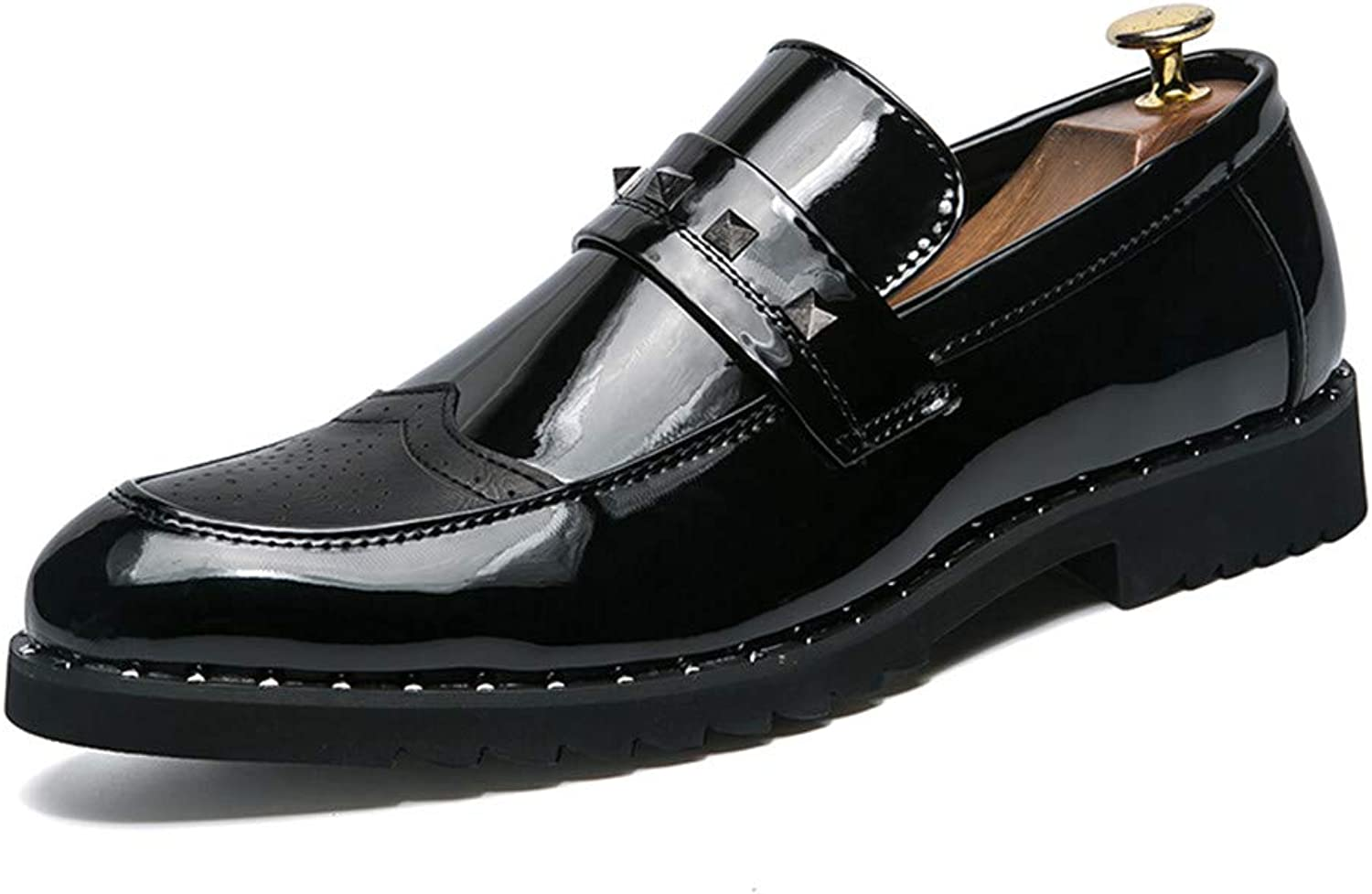 Z.L.F shoes Men's Business Oxford Casual Retro Personality Rivet Patent Leather Brogue shoes Leather shoes