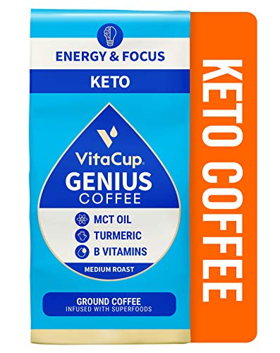 VitaCup Genius Keto Ground Coffee with MCT Oil, Turmeric, & Vitamins B1, B5, B6, B9, B12, D3 for Energy & Focus, Drip Coffee Brewers and French Press, 11 Ounces