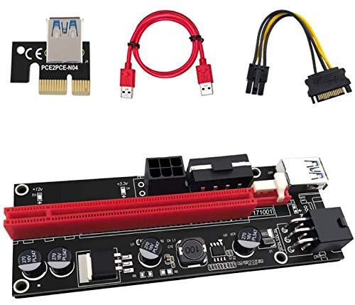Anupow Pci-e Riser Cable 1 x a 16x Tarjeta de Adaptador Extensión de gráficos Ethereum ETH para Minería GPU,Cable USB 3.0 de 60 cm,6 pines a 15 pines Cable de alimentación SATA