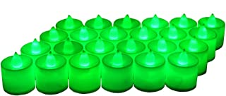 24 Pack LED Tea lights Candles – Flickering Flameless Tealight Candle – Battery Operated Electronic Fake Candles – Decoration for Wedding, Party, Dating and Festival Celebration (Green)