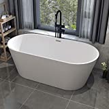 JAXSUNNY 59 Inch Acrylic Freestanding Bathtub Contemporary Stand Alone Soaking Tub with Brushed Nickel Overflow and Drain, White