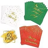 Whaline - Confezione da 60 tovaglioli di carta usa e getta, motivo natalizio, motivo a lamina d'oro, per feste, cene, feste, 3 veli, piegati, 15,5 x 15,5 cm