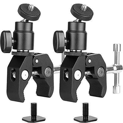ChromLives Kamera Super Klemme und Mini Kugelkopf Blitzschuh Adapter mit Stativschraube für LCD/DV Monitor, LED-Lichter, Blitzlicht, Mikrofon und Mehr 2Pack