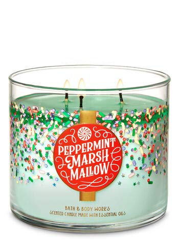 Bath and Body Works White Barn Peppermint Marshmallow 3 Wick Candle 14.5 Ounce Confetti Label