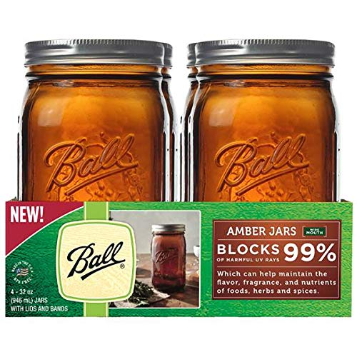 Ball AMBER Farbe GLASS MASON Jar WIDE Mund 946ML / 2 PINT / 32OZ / QUART  4-PACK mit Rezeptbuch