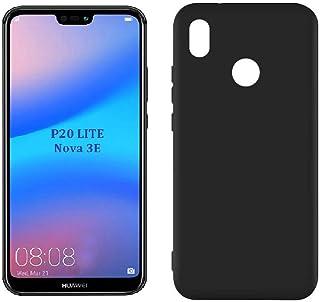 Case Matte plastic Smooth, Soft flexible, Candy Colors TPU Cover for Huawei P20 Lite/Nova 3E (Black)