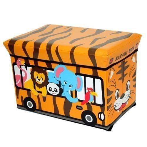 GMMH Hocker Love Bus 40 x 25 x 25 cm Faltbarer Original Spielzeugbox Spielzeugtruhe Spielzeugkiste Aufbewahrungsbox Sitzhocker faltbar (Mehrfarbig)