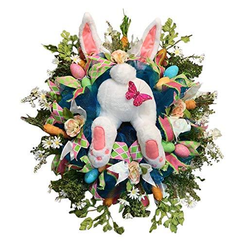 Guanici Corona del Coniglietto di Pasqua Ghirlanda di Coniglio Pasquale per Porta Anteriore Ghirlanda da Appendere a Parete Pasquale,Decorazione da Parete per Regali pasquali, Decorazioni per la casa