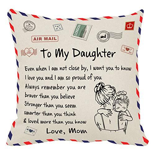 Almohada personalizada con texto personalizado tela de terciopelo avanzada única boda Pet regalos ideales decoraciones personalizados regalos para cumpleaños aniversario (a mi hija de mamá)
